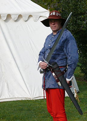 Swordsmith Peter Lyon in historic costume